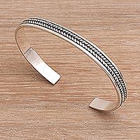 Sterling silver cuff bracelet, 'Ancient Weave' - Sterling Silver Cuff Bracelet Handmade in Bali
