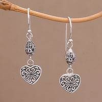 Sterling silver dangle earrings, 'Seeds of Hatiku' - Sterling Silver Heart Shaped Dangle Earrings from Indonesia