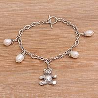 Cultured pearl charm bracelet, 'Precious Teddy' - Cultured Freshwater Pearl and Teddy Bear Charm Bracelet