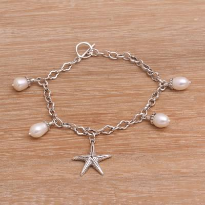 Cultured Freshwater Pearl Charm Bracelet Sea Star And Silver