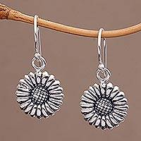 Sterling silver dangle earrings, 'Sweet Daisy' - Sterling Silver Daisy Flower Dangle Earrings from Bali