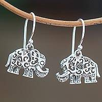 Sterling silver dangle earrings, 'Ornate Elephants' - Sterling Silver Elephant Dangle Earrings Handmade in Bali