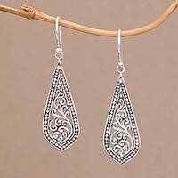 Sterling silver dangle earrings, 'Ornate Teardrop' - Handcrafted Balinese Sterling Silver Dangle Earrings