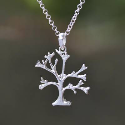 Sterling silver pendant necklace, 'Dainty Bark' - Sterling Silver Tree Pendant Necklace from Indonesia