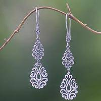Sterling silver dangle earrings, 'Mystic Vines'