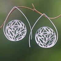 Sterling silver drop earrings, 'Seeds of Life' - Sterling Silver Drop Earrings Handcrafted in Bali