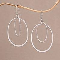 Sterling silver dangle earrings, 'Around You' - Sterling Silver Dangle Earrings Handcrafted in Bali
