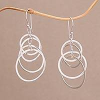 Sterling silver dangle earrings, 'Galaxy Dangle'
