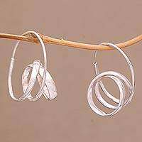 Sterling silver hoop earrings, 'Modern Curls' - Modern Sterling Silver Hoop Earrings from Bali