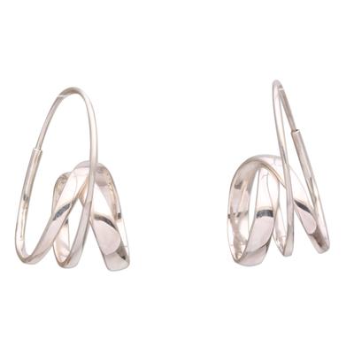 Sterling silver hoop earrings, 'Modern Curls' - Modern Sterling Silver Hoop Earrings from Bali