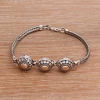 Gold accented sterling silver link bracelet, 'Destiny of Three' - Gold Accented Sterling Silver Link Bracelet from Bali