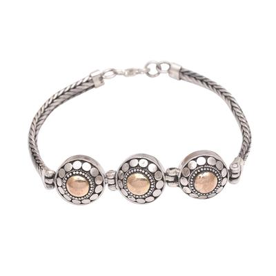 Gold accented sterling silver link bracelet, 'Destiny of Three' - Gold Accented Sterling Silver Link Bracelet from Bali