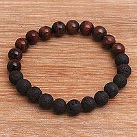 Agate and lava stone beaded stretch bracelet, 'Quiet Volcano' - Black Lava Stone and Brown Agate Beaded Stretch Bracelet
