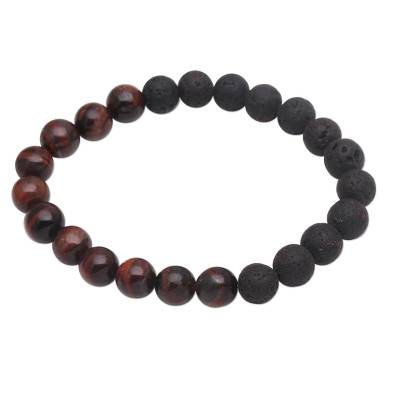 Black Lava Stone and Brown Agate Beaded Stretch Bracelet