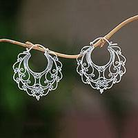 Sterling silver hoop earrings, 'Graceful Glamour' - Sterling Silver Hoop Earrings Handcrafted in Bali
