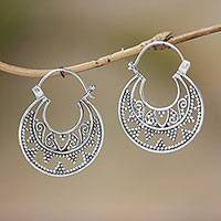 Sterling silver hoop earrings, 'Moonlight Descent' - Sterling Silver Hoop Earrings Handcrafted in Bali