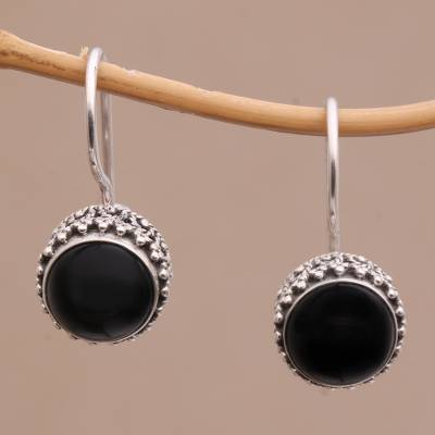 Onyx drop earrings, 'Beauteous' - Onyx and Sterling Silver Drop Earrings Handmade in Bali