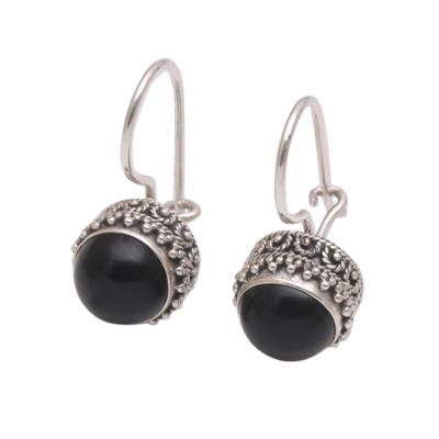 Onyx and Sterling Silver Drop Earrings Handmade in Bali