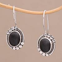 Onyx drop earrings, 'Midnight Charisma' - Onyx and Sterling Silver Drop Earrings Handmade in Bali
