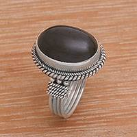 Onyx cocktail ring, 'Captivating' - Onyx and Sterling Silver Cocktail Ring Handmade in Bali