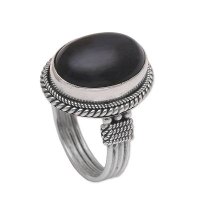 Onyx and Sterling Silver Cocktail Ring Handmade in Bali