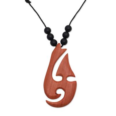Adjustable Onyx and Sawo Wood Pendant Necklace from Bali