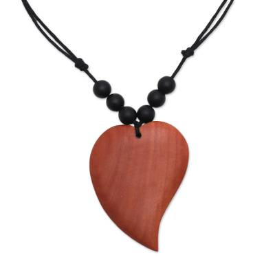 Heart-Shaped Onyx and Sawo Wood Pendant Necklace from Bali
