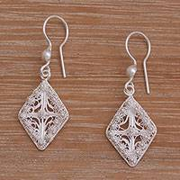 Sterling silver filigree dangle earrings, 'Ethereal Kite' - Filigree Sterling Silver Dangle Earrings Handmade in Java