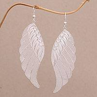 Sterling silver filigree dangle earrings, 'Garuda Feather' - Sterling Silver Filigree Bird Feather Dangle Earrings