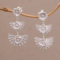 Sterling silver filigree dangle earrings, 'Frozen Petals' - Sterling Silver Filigree Dangle Earrings Handmade in Java
