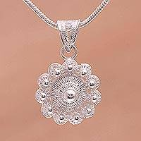 Sterling silver filigree pendant necklace, 'Heavenly Petals' - Sterling Silver Filigree Pendant Necklace Handmade in Java