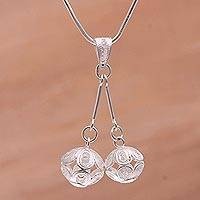 Sterling silver filigree pendant necklace, 'Double Flourish' - Sterling Silver Filigree Pendant Necklace Handmade in Java