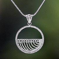 Sterling silver filigree pendant necklace, 'Halfway Wave' - Sterling Silver Filigree Pendant Necklace Handmade in Java