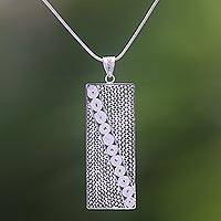 Sterling silver filigree pendant necklace, 'Geometric Illusions' - Sterling Silver Filigree Pendant Necklace Handmade in Java