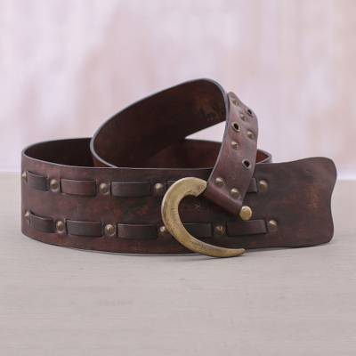 Leather belt, 'Iron Edge' - Handcrafted Iron Studded Leather Belt with Contemporary Hook