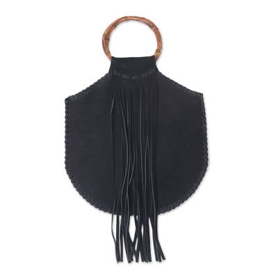 Balinese Black Suede and Bamboo Handle Handbag with Fringe