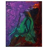 'The Magic of Love' - Colorful Signed Artistic Nude Painting from Java