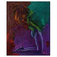 'Beautiful Sadness II' - Signed Expressionist Painting of a Nude Woman from Java