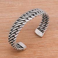 Sterling silver cuff bracelet, 'Everlasting Link' - Sterling Silver Cuff Bracelet from Bali