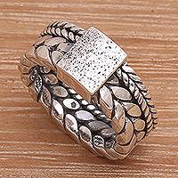Sterling silver band ring, 'Basilisk Charm' - Sterling Silver Unisex Band Ring Handcrafted in Bali