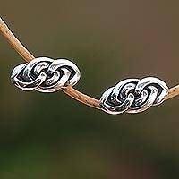 Sterling silver stud earrings, 'Eternal Link' - Sterling Silver Stud Earrings Handcrafted in Bali