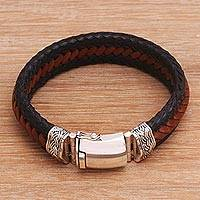 Men's leather wristband bracelet, 'Lineage' - Men's Leather and Sterling Silver Braided Wristband Bracelet