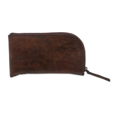 Handcrafted Curved Brown Leather Glasses Case