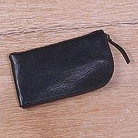 Leather glasses case, 'Elegant Black Curve' - Handcrafted Curved Black Leather Glasses Case