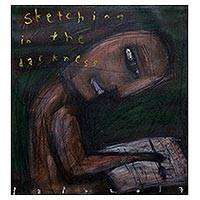 'Sketching in the Darkness' - Signed Creativity-Themed Modern Painting from Java