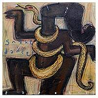 'Snake Dancer' - Signed Painting of a Snake Dancer from Java