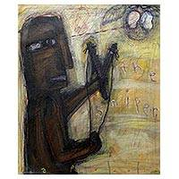 'The Sniper' - Signed Painting of a Man with a Slingshot