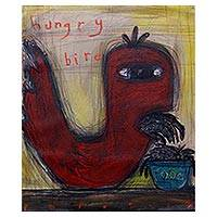 'Hungry Bird' - Signed Modern Painting of a Bird from Java