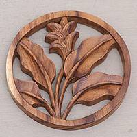 Wood relief panel, 'Flourish' - Balinese Crafted Floral Plant Suar Wood Wall Relief Panel