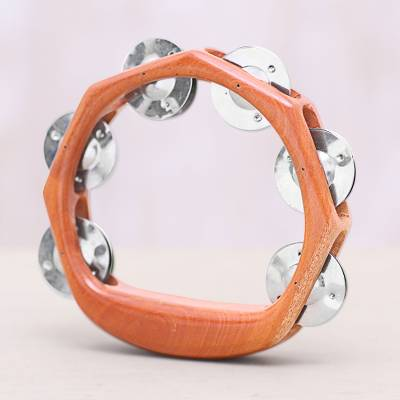 Wood and stainless steel tambourine, 'Funky Tune' - Teakwood and Stainless Steel Tambourine from Bali